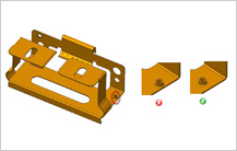 Minimum Distance from Extruded Hole to Part Edge guidelines in sheet metal