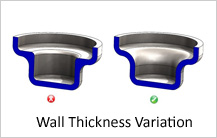 Wall thickness variation design guidelines in casting