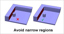 Design for Narrow Regions In Pockets