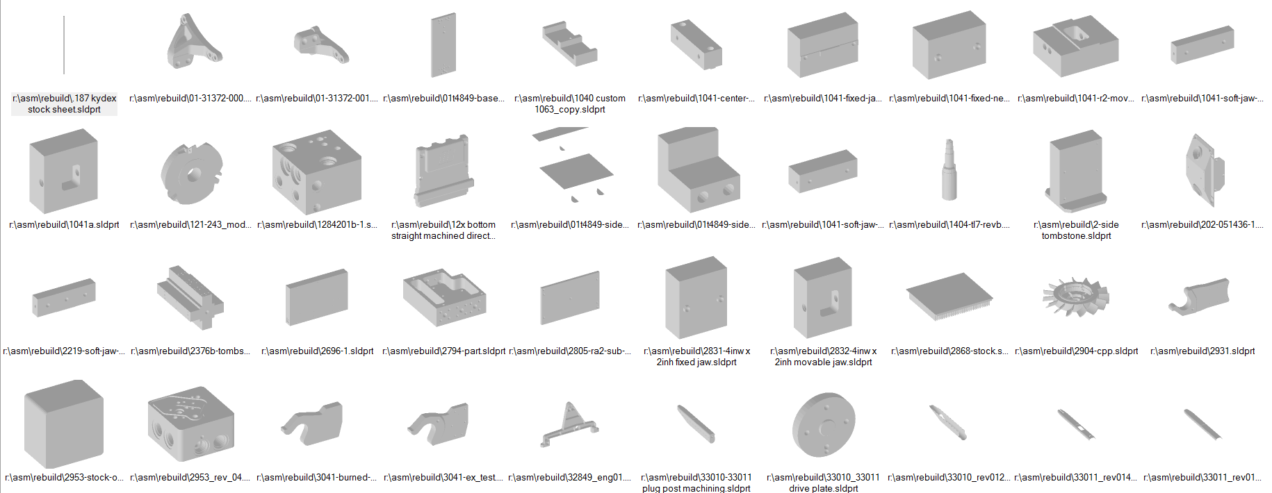 Example of Database consisting of thousands of Parts.