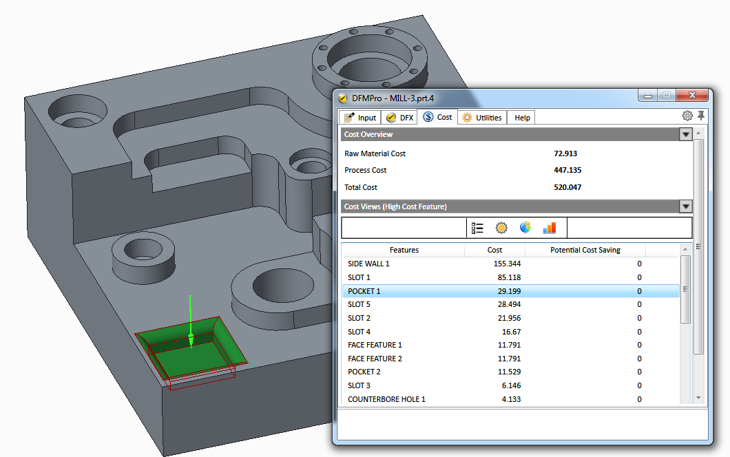 product cost reduction - DFMPro ROM cost estimation with critical feature identification