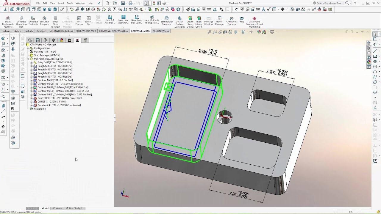 CAMWorks machining toolpath based on PMI data